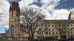 Views of Duisburg town hall with Salvator church Stock Footage