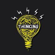 Creative thinking word on sketch bulb design vector Stock Illustration