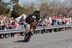 Motorcycle Stunt Rider - Wheelie - stock photo