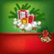green red greeting with Christmas decorations - stock illustration