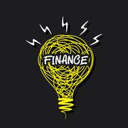 creative finance concept word on sketch bulb design vector - stock illustration