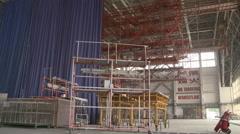 Inside aircraft hangar, Xiamen, China Stock Footage