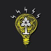 Creative small plant in sketch bulb vector Stock Illustration