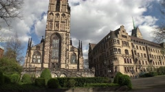 Duisburg city hall and Salvator church Stock Footage