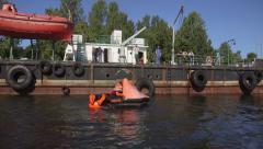 Basic safety training (STWC95) Life raft Stock Footage