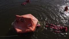 Life Raft training Stock Footage