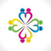 Creative heart shape couple icon design Stock Illustration