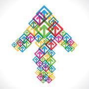 colorful arrow move up icon design - stock illustration