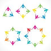 colorful teamwork or unity design concept - stock illustration