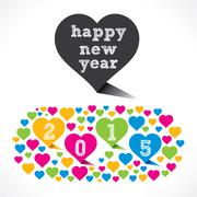 Creative new year 2015 design with colorful heart shape Stock Illustration
