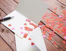Empty valentine card composition - stock photo
