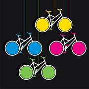 Colorful bicycle hang info-graphics design vector Stock Illustration