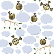 Cartoon birds seamless pattern - stock illustration