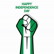 Stock Illustration of Flag of Nigeria in hand , happy Independence Day design vector