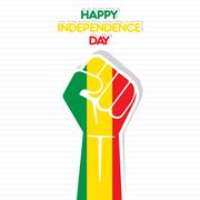 Flag of Mali in hand , happy Independence Day design vector - stock illustration
