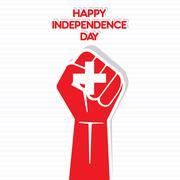 happy independence day of Switzerland hand symbol design vector - stock illustration