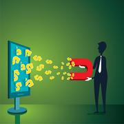 Man earning money through internet and magnet design concept Stock Illustration