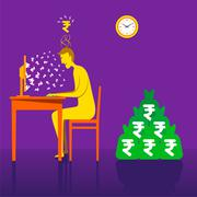 On-line earning rupee or money with online business concept vector Stock Illustration
