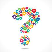 Abstract Question Mark design With colorful Cog Wheels vector Stock Illustration