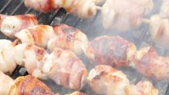 Meat brochettes grill and fire close-up 4K 3840X2160 UltraHD footage - Mixed Stock Footage