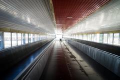 Train walkway - stock photo