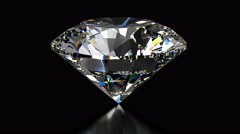 Spinning diamond on black background - isolated with alpha mask Stock Footage