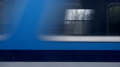Horizontal movement from train window Stock Footage
