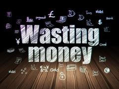 Stock Illustration of Currency concept: Wasting Money in grunge dark room