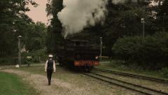 Vintage steam locomotive. Stock Footage
