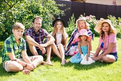 Big family relaxing in the summer park Stock Photos