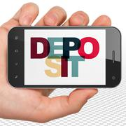 Currency concept: Hand Holding Smartphone with Deposit on  display Stock Illustration
