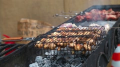 Grill mushrooms on the Grill Stock Footage