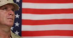 United States Peacekeeping Forces Soldier Standing Right Position American Flag - stock footage