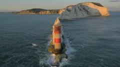 Aerial Drone Needles UK sea Helipad tourism Arkistovideo