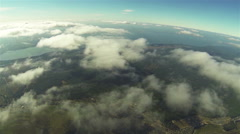 Real flight in clouds at  height of 1800 meters or 5905 ft. Beautiful landscape  Stock Footage