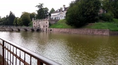 The park and pond in Bad Pyrmont, Germany Stock Footage