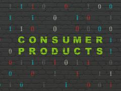 Business concept: Consumer Products on wall background - stock illustration