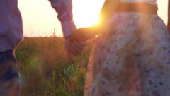 Fashionable happy couple join hands runs across the field in sunset light and Stock Footage