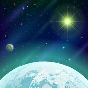 Space background with planet and sun - stock illustration