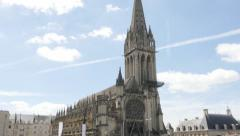 Slow tilt on  Saint-Pierre basilique located in Lower Normandy city of Caen b Stock Footage
