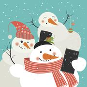 Cute snowmen take a selfie Stock Illustration