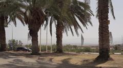 Car drives towards the Dead Sea, Israel, Palestine Stock Footage