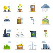Ecology Icons Set - stock illustration