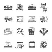 Freelance concept black icons collection Stock Illustration