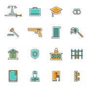 Judgement Line Icons Set Stock Illustration