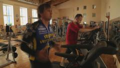 Stock Video Footage of People In Sports hall on a racetrack - 2
