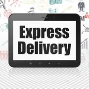 Business concept: Tablet Computer with Express Delivery on display - stock illustration