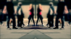 Untitled Projectpeople walking on busy city street ,blurred urban background Stock Footage