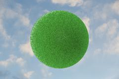 Green grass sphere in the sky Stock Photos