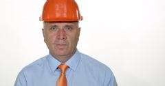 Confident Engineer Construction Builder Portrait Serious Mature Man Look Camera Stock Footage